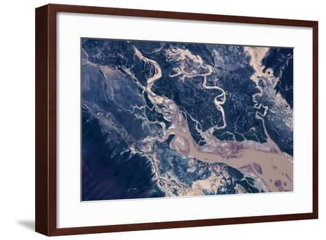 Satellite view of estuary, Camballin, Western Australia, Australia--Framed Art Print
