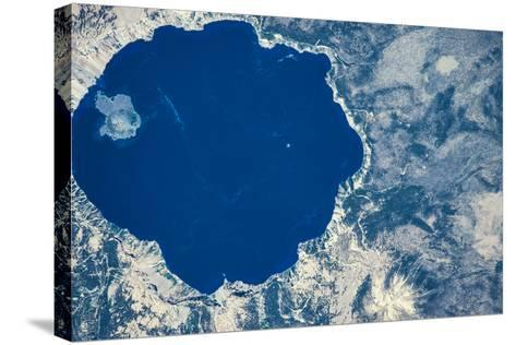 Satellite view of Crater Lake, Oregon, USA--Stretched Canvas Print