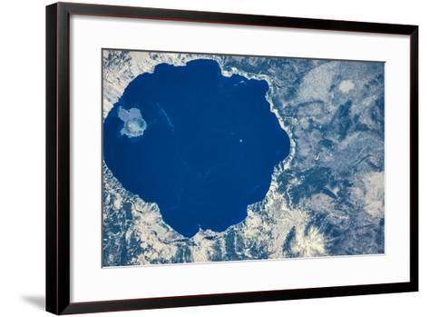 Satellite view of Crater Lake, Oregon, USA--Framed Art Print