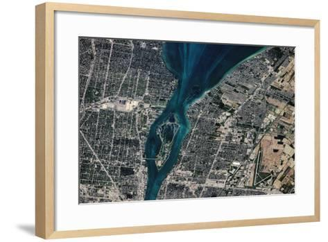 Satellite view of Detroit River and Lake St. Clair, Michigan, USA-Canada--Framed Art Print