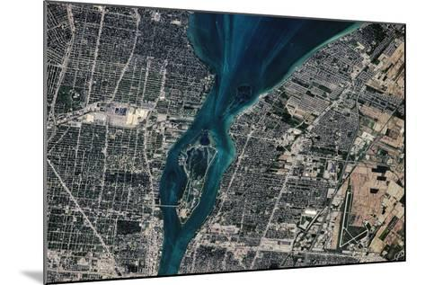 Satellite view of Detroit River and Lake St. Clair, Michigan, USA-Canada--Mounted Photographic Print