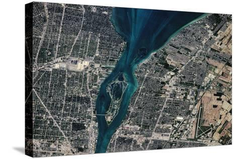 Satellite view of Detroit River and Lake St. Clair, Michigan, USA-Canada--Stretched Canvas Print