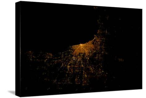 Night time satellite image of Chicago and Lake Michigan, Michigan, USA--Stretched Canvas Print
