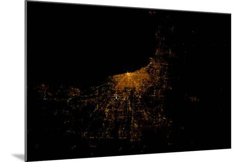 Night time satellite image of Chicago and Lake Michigan, Michigan, USA--Mounted Photographic Print
