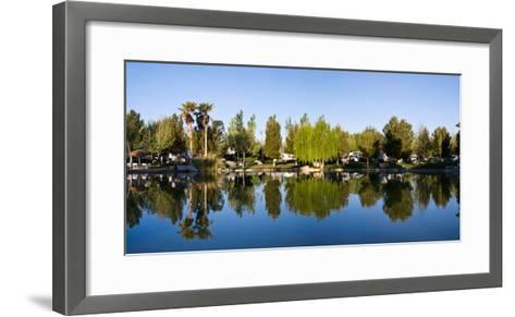 Terrible's Lakeside Casino RV Park reflected in lake in Pahrump, Nye County, Nevada, USA--Framed Art Print
