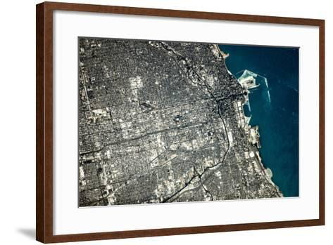 Satellite view of Chicago city at the coast of Lake Michigan, USA--Framed Art Print