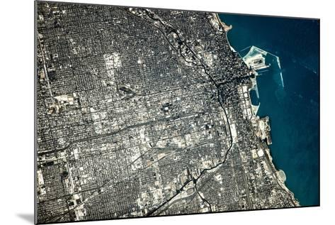 Satellite view of Chicago city at the coast of Lake Michigan, USA--Mounted Photographic Print