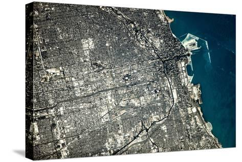Satellite view of Chicago city at the coast of Lake Michigan, USA--Stretched Canvas Print