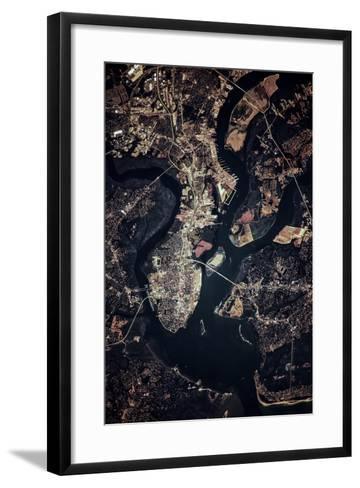 Night time satellite image of Charleston, South Carolina, USA--Framed Art Print