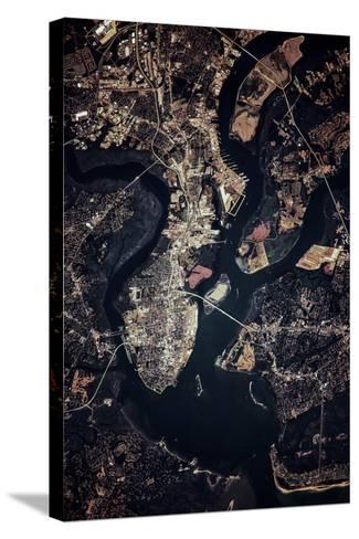 Night time satellite image of Charleston, South Carolina, USA--Stretched Canvas Print