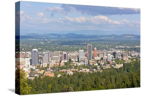 Elevated view of Portland skyline, Multnomah County, Oregon, USA--Stretched Canvas Print