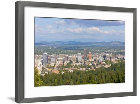Elevated view of Portland skyline, Multnomah County, Oregon, USA--Framed Art Print