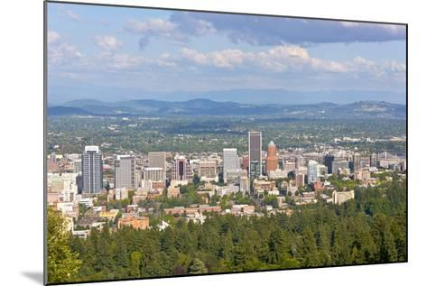 Elevated view of Portland skyline, Multnomah County, Oregon, USA--Mounted Photographic Print