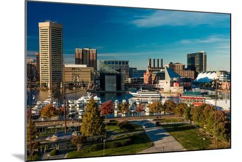 Panoramic view of Baltimore Inner Harbour, Maryland - shot from Federal Park Hill--Mounted Photographic Print