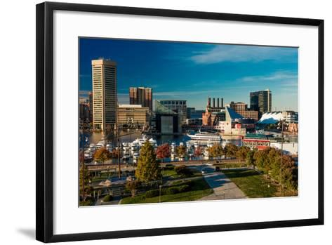 Panoramic view of Baltimore Inner Harbour, Maryland - shot from Federal Park Hill--Framed Art Print