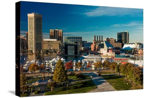 Panoramic view of Baltimore Inner Harbour, Maryland - shot from Federal Park Hill--Stretched Canvas Print