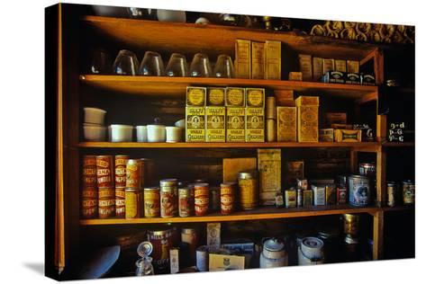 Interior of General Store with goods on shelves in Ghost Town near Virginia City, MT--Stretched Canvas Print