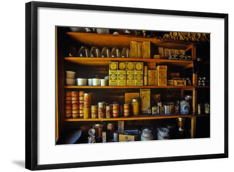Interior of General Store with goods on shelves in Ghost Town near Virginia City, MT--Framed Art Print