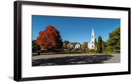 View of church in town, Bath, Sagadahoc County, Maine, USA--Framed Art Print