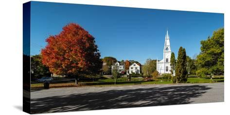 View of church in town, Bath, Sagadahoc County, Maine, USA--Stretched Canvas Print