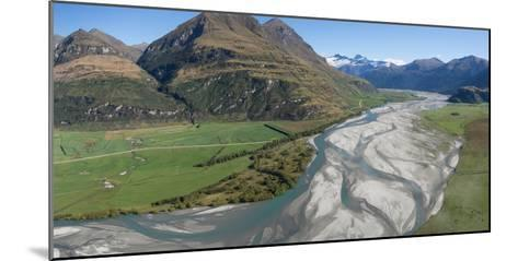 Elevated view of river passing through mountains, Matukituki River, Lake Waneka, Mount Aspiring...--Mounted Photographic Print