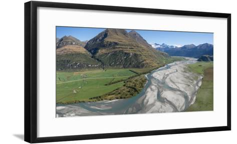 Elevated view of river passing through mountains, Matukituki River, Lake Waneka, Mount Aspiring...--Framed Art Print