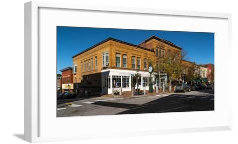 Buildings along a street, Bath, Sagadahoc County, Maine, USA--Framed Art Print