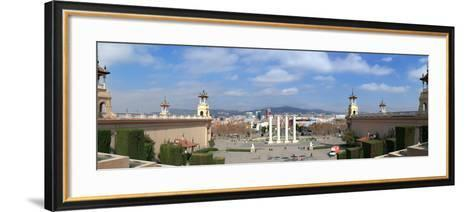 Four columns to the magic fountain from Passeig Cascades, Placa del Marques de Foronda, Barcelon...--Framed Art Print