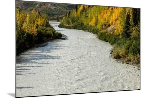 Roaring river and autumn color as seen off Richardson Highway, Route 4, North of Paxon, Alaska--Mounted Photographic Print