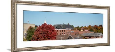View of buildings with trees in autumn, Bath, Sagadahoc County, Maine, USA--Framed Art Print