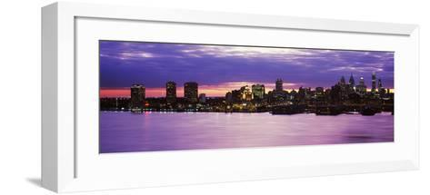 Philadelphia skyline at dusk, Pennsylvania, USA--Framed Art Print