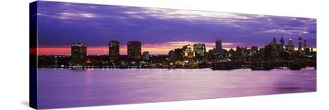 Philadelphia skyline at dusk, Pennsylvania, USA--Stretched Canvas Print