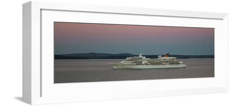 Cruise ship in Atlantic ocean, Bar Harbor, Mount Desert Island, Hancock County, Maine, USA--Framed Art Print