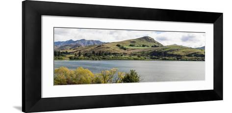 Scenic view of Lake Hayes near Arrowtown, Queenstown Lakes District, Central Otago, Otago Region...--Framed Art Print
