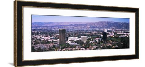 Aerial view of 10 Universal City Plaza in city, Los Angeles, California, USA--Framed Art Print