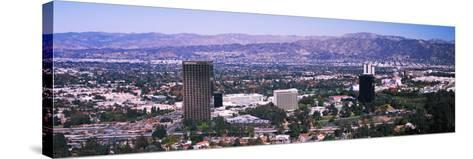 Aerial view of 10 Universal City Plaza in city, Los Angeles, California, USA--Stretched Canvas Print