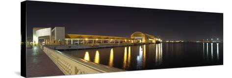 View of Pier 6 at night, Bahia Urbana, Old San Juan, San Juan, Puerto Rico, USA--Stretched Canvas Print