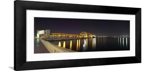 View of Pier 6 at night, Bahia Urbana, Old San Juan, San Juan, Puerto Rico, USA--Framed Art Print