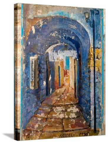 Paintings of a building, Hod HaSharon, Israel--Stretched Canvas Print