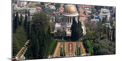 Elevated view of the Terraces of the Shrine of the Bab, Bahai Gardens, German Colony Plaza, Haif...--Mounted Photographic Print