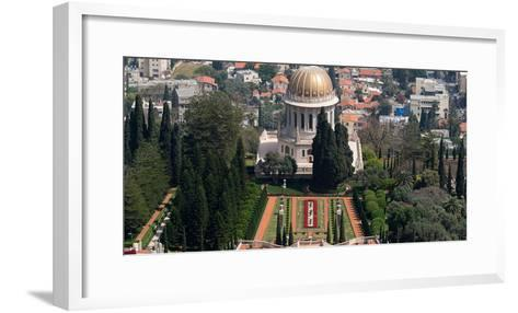 Elevated view of the Terraces of the Shrine of the Bab, Bahai Gardens, German Colony Plaza, Haif...--Framed Art Print