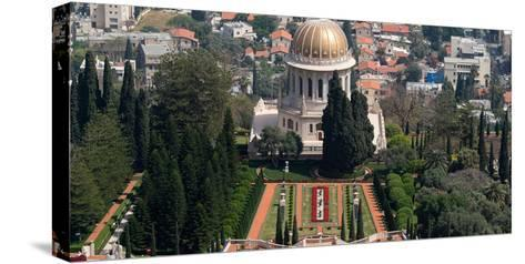 Elevated view of the Terraces of the Shrine of the Bab, Bahai Gardens, German Colony Plaza, Haif...--Stretched Canvas Print