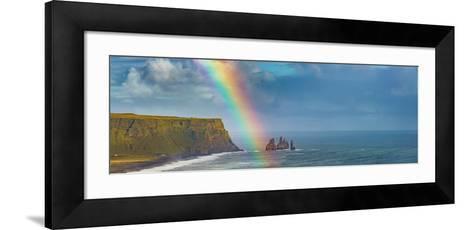 Rainbow over basalt sea stacks, Iceland--Framed Art Print
