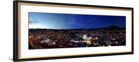 Elevated view of cityscape at sunset, Guanajuato, Mexico--Framed Art Print