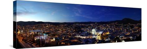 Elevated view of cityscape at sunset, Guanajuato, Mexico--Stretched Canvas Print