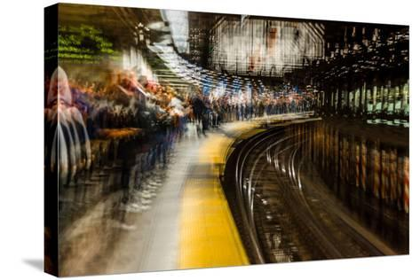 Commuters in NYC subway system--Stretched Canvas Print