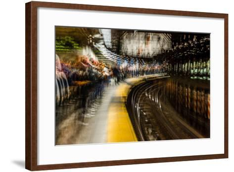 Commuters in NYC subway system--Framed Art Print
