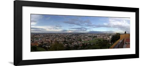 Eleated view of cityscape, Cholula, Puebla State, Mexico--Framed Art Print
