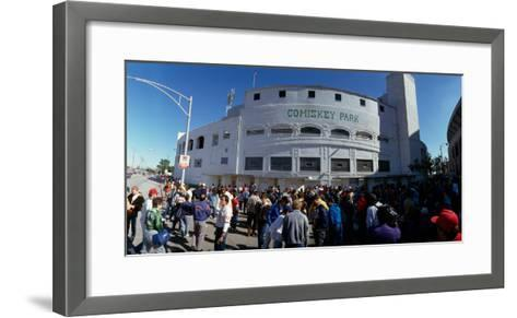 Spectators in front of a baseball stadium, U.S. Cellular Field, Chicago, Cook County, Illinois, USA--Framed Art Print