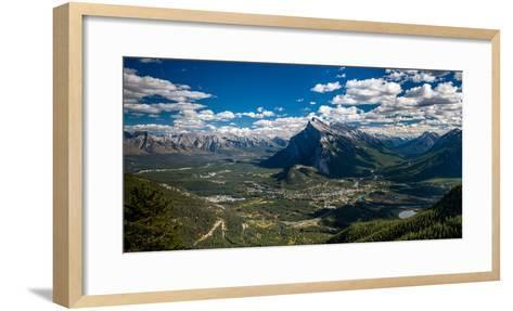 Aerial view of Banff town and Mount Rundle, Banff National Park, Alberta, Canada--Framed Art Print